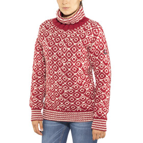 Devold Svalbard High Neck Sweater Hindberry/Offwhite